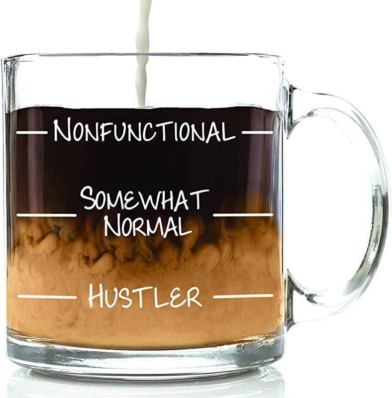 Nonfunctional Funny Glass Coffee Mug Best Christmas Gift For Men Women Fun Unique Office Cup Novelty Birthday Idea For Friends Mom Dad Husband Wife Boyfriend Girlfriend Coworkers