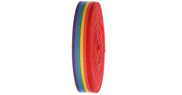 Striped Heavy Canvas Webbing Roll 1.25 Width Durable Strap for Belts Bags Crafts Build A Belt 10Yard-Rainbow
