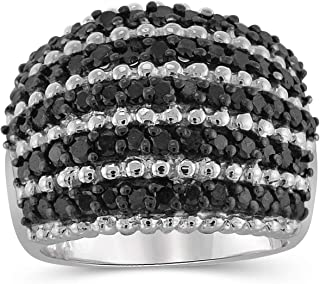JEWELEXCESS Sterling Silver 2 Carat Black Diamond Ring for Women | Diamonds for Everyday Womens Wear