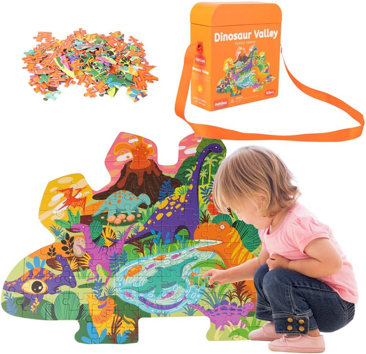 Puzzle de 100 Piezas para niños, Puzzles de Papel JFIEEI, Puzzles de cartón Educativo de Aprendizaje para Regalo de cumpleaños, niños y niñas (Dinosaurio)