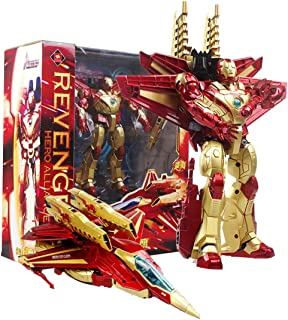 Iron Man Model Super Hero Toy Movie Masterpiece Transformer Robot Aircraft Action Figures Toy Gift for Kids Boys