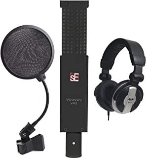 sE Electronics VR2 Voodoo Active Ribbon Microphone with Shockmount and Case + CAD Audio Closed-Back Studio Headphones + Inch Pop Filter