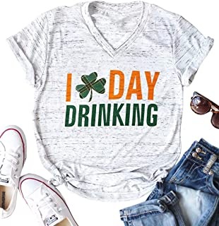 I Day Drinking T-Shirt Women St Patricks Day Short Sleeve V Neck Tees Cute Graphic Plaid Shamrock Top Shirt