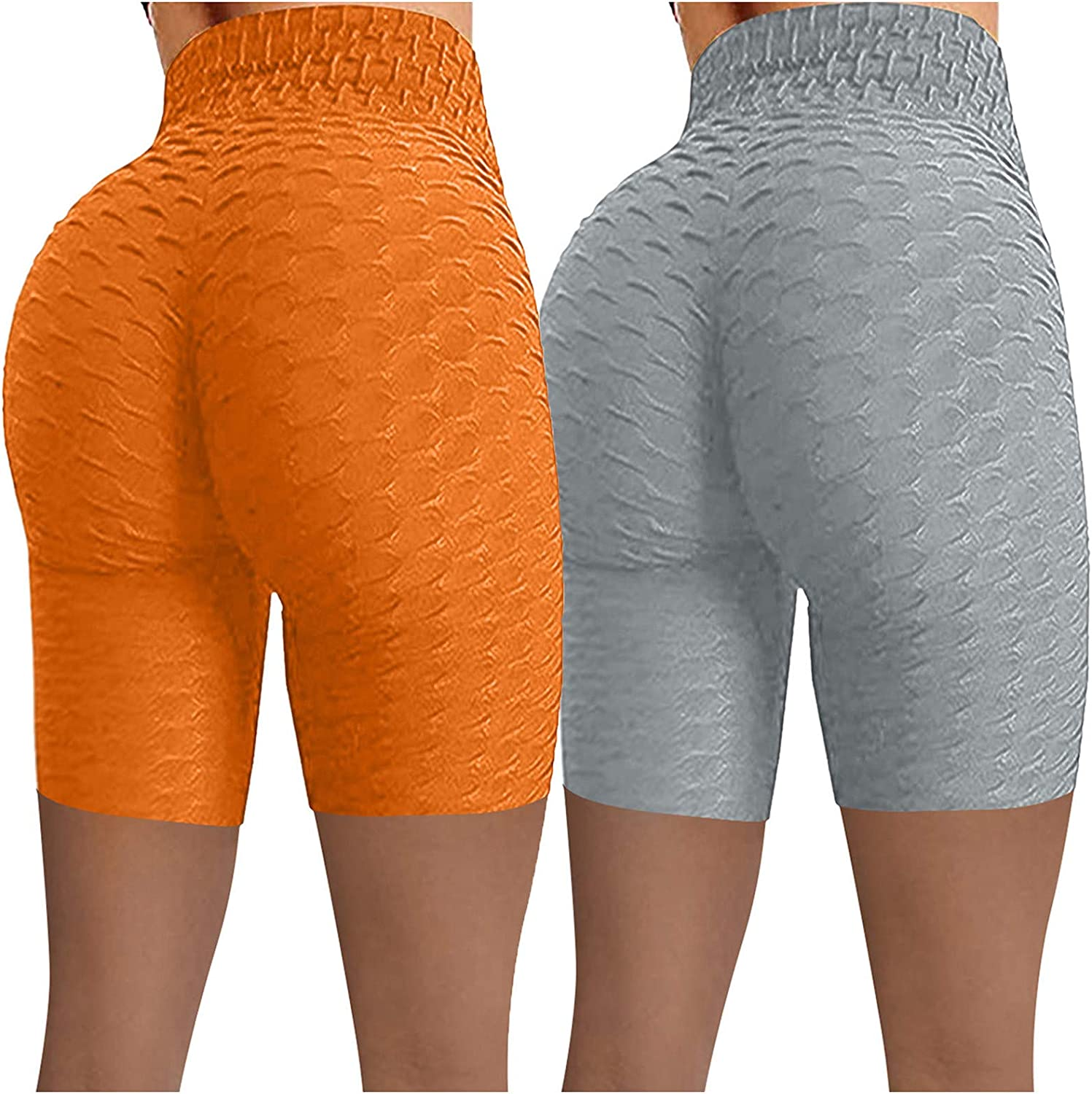 2 Pack Athletic Shorts for Women,Women's Scrunch Booty Ruched Butt Lifting Workout Biker Yoga Shorts Gym Short Leggings