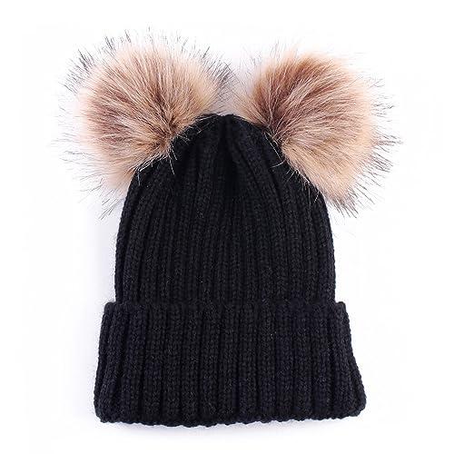 Puseky Women Fashion Double Pom Pom Knit Crochet Winter Warm Beanie Cap Ski  Beret Hat 6d2de82522