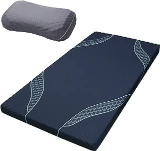 東京西川 [エアー01] マットレス & 枕 セット ネイビー/ハード シングル 高反発 厚み8cm 硬さハード やさしく支える枕付き HZ09380611NV