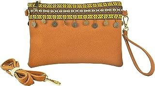 Retro Fringe Wristlets Bohemian Embroidered Crossbody Bag Vintage Purse Tassel Handbag Gypsy Style -Sibalasi