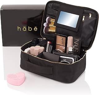 habe Travel Makeup Bag with Mirror - Premium Vegan Designer Make Up Bag Organizer Train Case for Women - More Storage than 3 Cosmetic Bags, Make Up Bags or Make Up Cases (BONUS Make-Up Brush Cleaner)