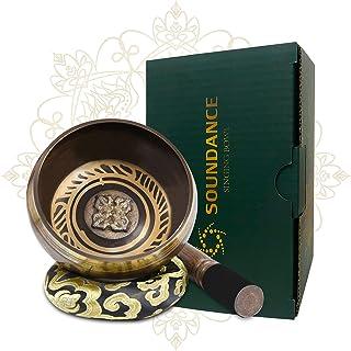SOUNDANCE مجموعه کاسه ای تبتی ، Cuencos Tibetanos ، کاسه صدا مدیتیشن برای شفابخشی معنوی ، هدایای منحصر به فرد برای لوازم جانبی دکور Zen Chakra ، با بالشت ابریشمی مالت ، نپال ، 3.15 اینچ