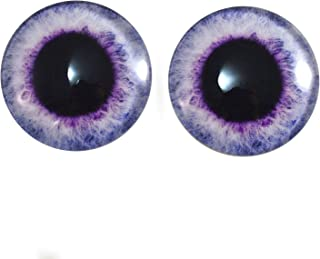 40mm Pair of Light Purple Fantasy Glass Eyes, for Jewelry Making, Dolls, Sculptures, More