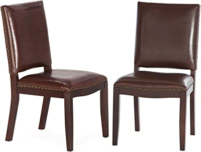 Dark Brown Bonded Leather Dining Chairs Set of 2 Nailhead Accents Classic Contemporary Style