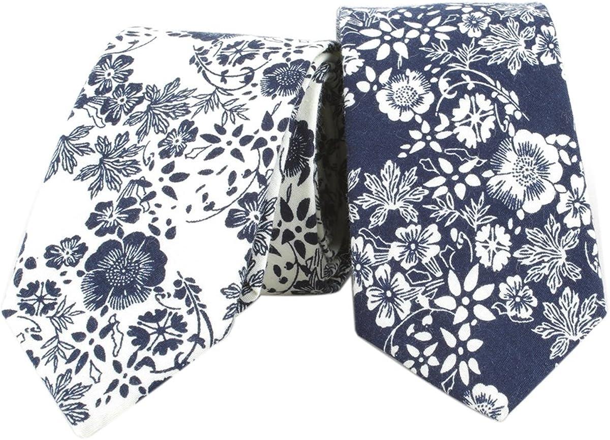 Houlife Cotton Mens Ties - Floral Ties for Men Skinny Tie Slim Necktie For Wedding Party