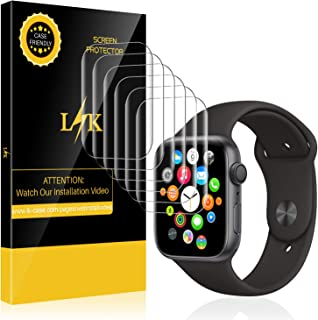 LK 6 Pack Screen Protector for Apple Watch 40mm / 38mm (Series 5/4/3/2/1 Compatible), Max Coverage Screen Protector HD Clear Bubble-Free Film