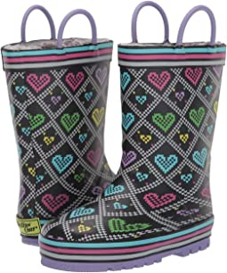 Quilted Hearts Rain Boot (Toddler/Little Kid)