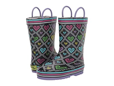 Western Chief Kids Quilted Hearts Rain Boot (Toddler/Little Kid) (Black) Boys Shoes