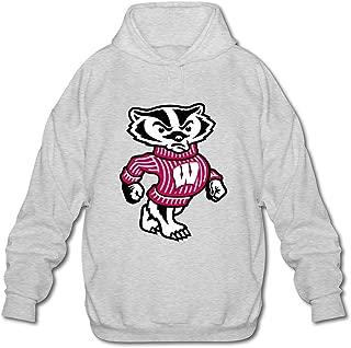 JeFF Men's University Of Wisconsin Madison Badger LOGO Long Sleeve Sweatshirt Hoodies (US Size)