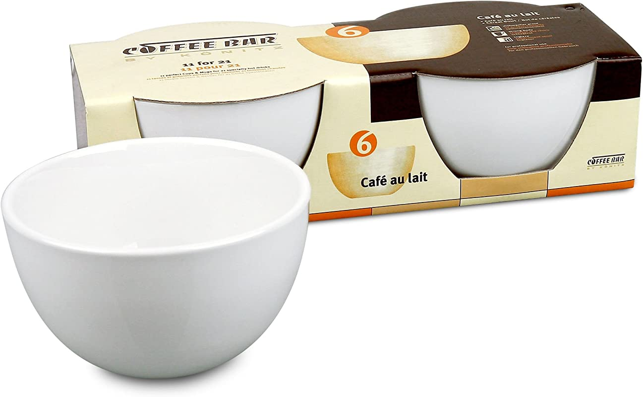 Konitz Coffee Bar Caf Au Lait 20 Ounce Bowls Set Of 2 White