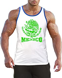 Interstate Apparel Inc Men`s Green Mexico Seal C3 Blue Trim White Tank Top White