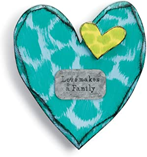 DEMDACO Love Makes A Family Teal Spot 11 inch Fir Wood Decorative Wall Art Sign