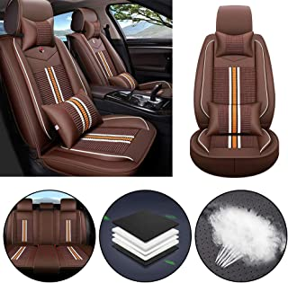 Car Seat Cover for Jaguar F-PACE E-PACE I-PACE F-Type S-Type X-Type Universal Car Seat Protectors 5-Seat Full Set Artificial Leather Waterproof,Easy Install,Lafite Red Deluxe2