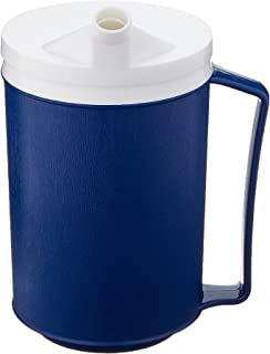 Sammons Preston Insulated Mug with Snorkel Lid, Durable Container for Hot and Cold Liquid Beverages, Tea, Smoothies, 12 oz Blue Travel Coffee Cup with Lid for Elderly, Disabled, Handicapped, Weak Grip