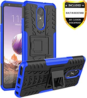 LG Stylo 4 Case,LG Stylo 4 Plus Case,LG Q Stylus Phone Case with HD Screen Protector,Huago Kickstand Bumper Dual Layer Heavy Duty Non Slip Shockproof Protective Cover Skin for LG Stylo 4,Blue