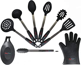 Silicone Basics Ultimate 9-Piece Black Stainless Steel & Silicone Kitchen Utensil Set - Premium Quality Cooking Tools