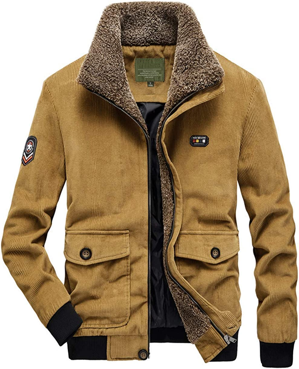 chouyatou Mens Casual Fleece Collar Thicken Quilted Lined Corduroy Bomber Jacket Coat