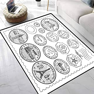 Travel Rugs for Sale Stamps from All Over The World Historical Landmarks Tourist Attraction European Anti-Slip Outdoor Rugs 48 X 60 Inch