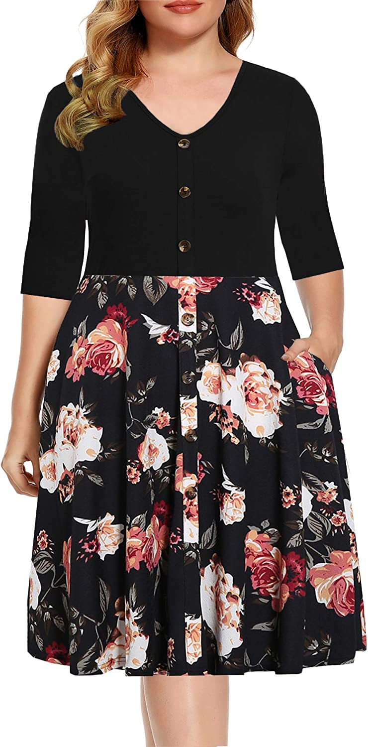 BEDOAR Women's Casual Plus Size Dress V-Neck Knee-Length A-Line Party Cocktail Swing Dress with Pockets