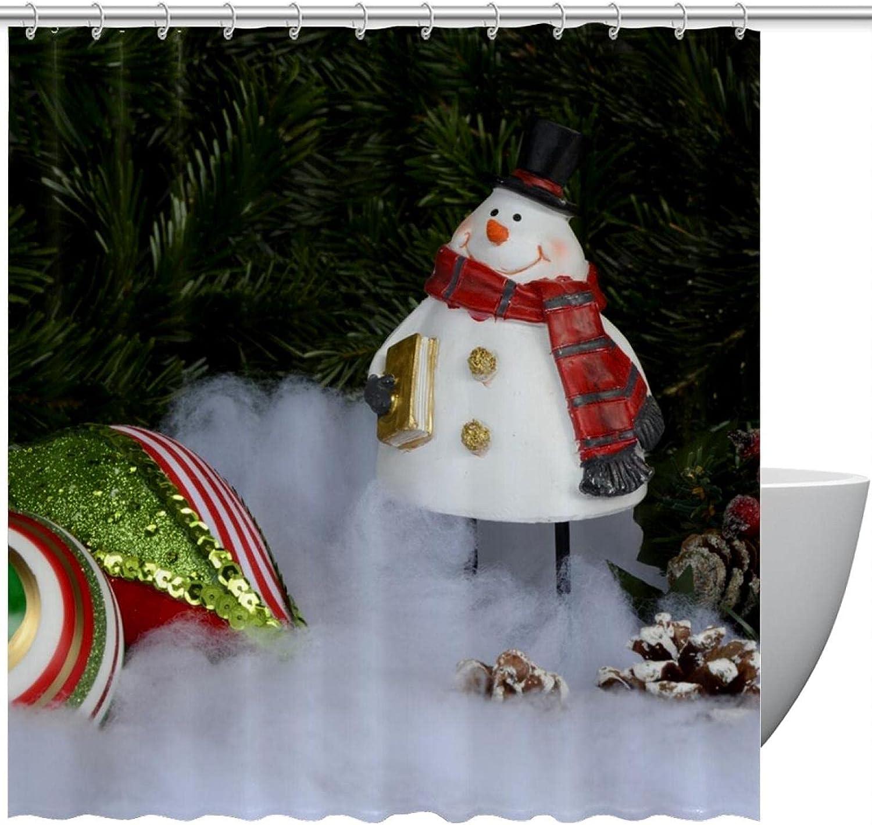 Christmas Snowman Pinecones Fabric Under blast sales Shower Decora Curtain Modern Bargain