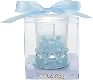 Mega Favors 12 pcs Party Keepsake Baby Blue Sail Boat Wheel Candle Set, Awesome Party Favors for Baby Shower Announcement Parties, Boys or Girls Party & Other Themed Events