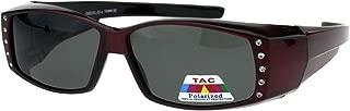 Polarized 57mm Womens Side Rhinestone Trim Narrow Rectangular Fit Over Sunglasses