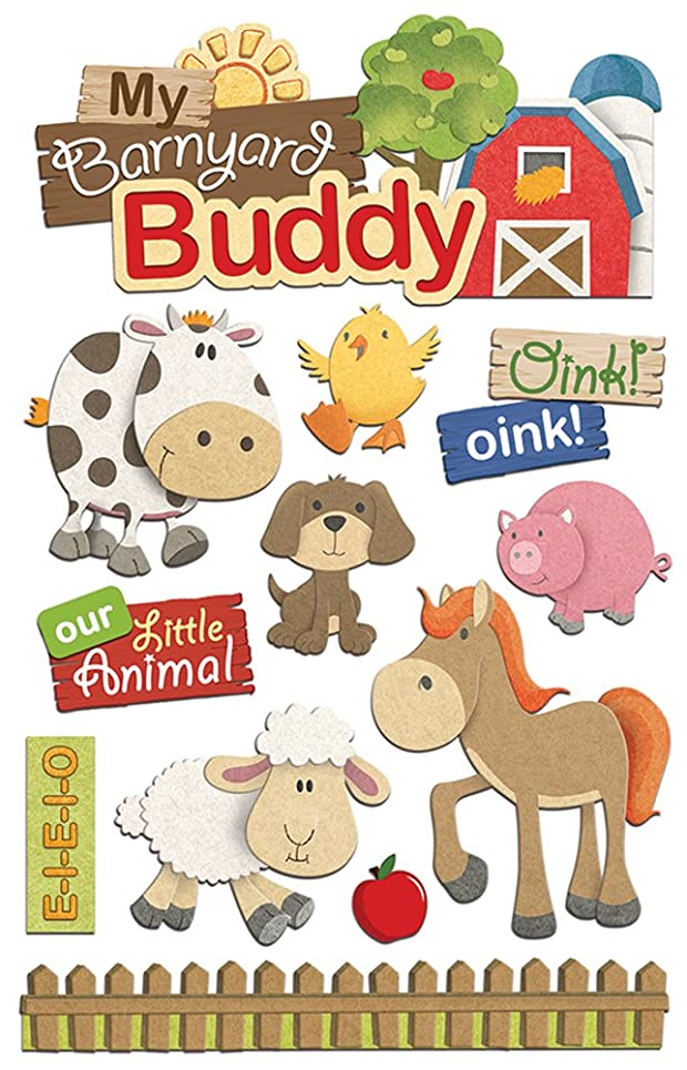 Paper House Productions STDM-0262E 3D Stickers, Barnyard Buddy (3-Pack)