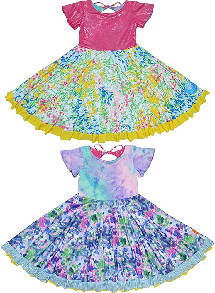 TwirlyGirl Kids Special Occasion Dress Reversible Purple Sparkle Pink USA Made
