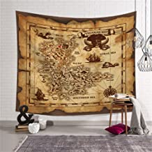 QCWN Treasure Map Tapestry Wall Hanging,Island Map Super Detailed Treasure Map Pirates Gold Secret Sea History Theme, Wall Hanig for Bedroom Living Room Dorm Decor Beige and Brown 79x59Inc