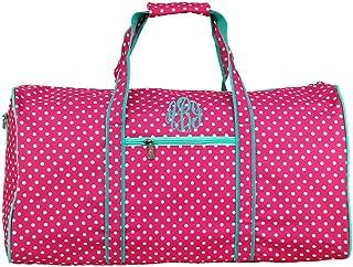 Monogrammed Pink Polka Dot with Mint Trim Girls Duffle Bag
