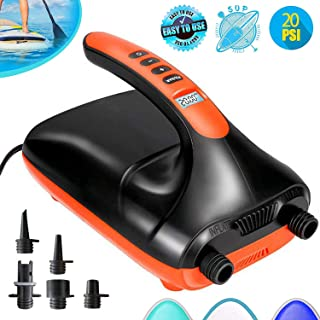 Tuomico 20PSI High Pressure SUP Electric Air Pump,Dual Stage Inflation Paddle Board Pump for Inflatable Stand Up Paddle Boards, Boats,Kayak,12V DC Car Connector