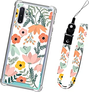 Samsung Galaxy Note 10 Plus Case Orange Floral with Lanyard for Women Girls Protective Shockproof Cute Pink Flower Pattern...