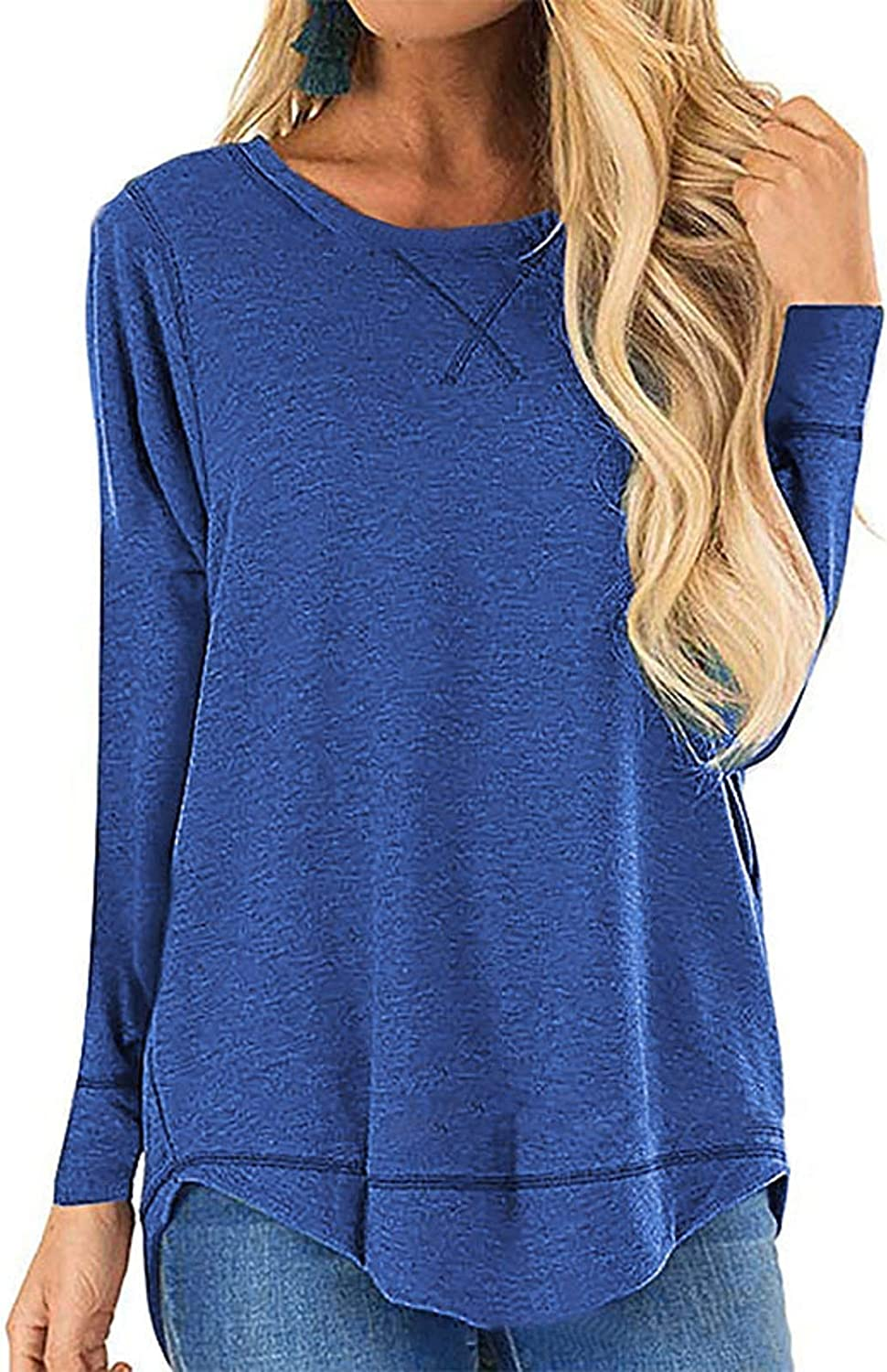 ANFTFH Long Sleeve Casual Blouses Tops Crewneck Solid Color Sweatshirt Loose Fall Shirts Women