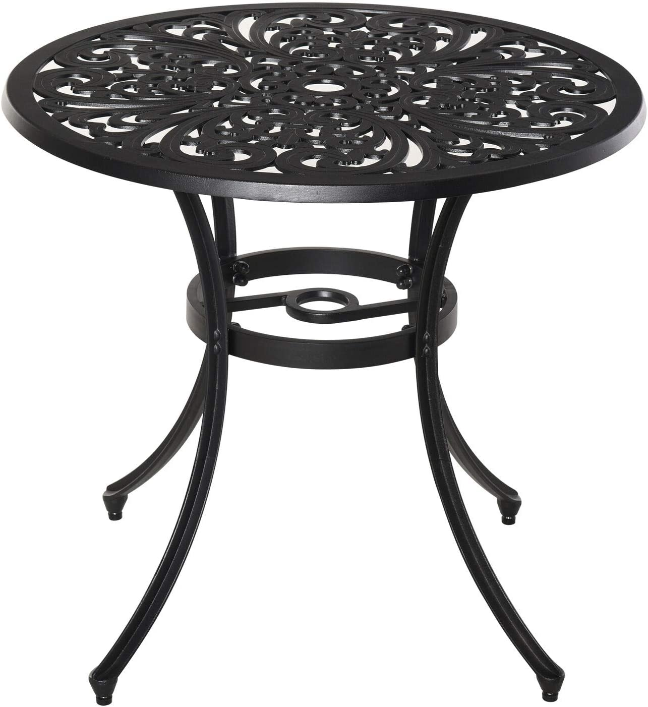 Floral Vintage Bistro Accent OFFicial Table Built-in Hole Umbrella with S Mail order