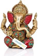 "5.5"" Lord Ganesha Brass Statue | Hindu God Ganesh Ganpati Sitting Idol Sculpture"