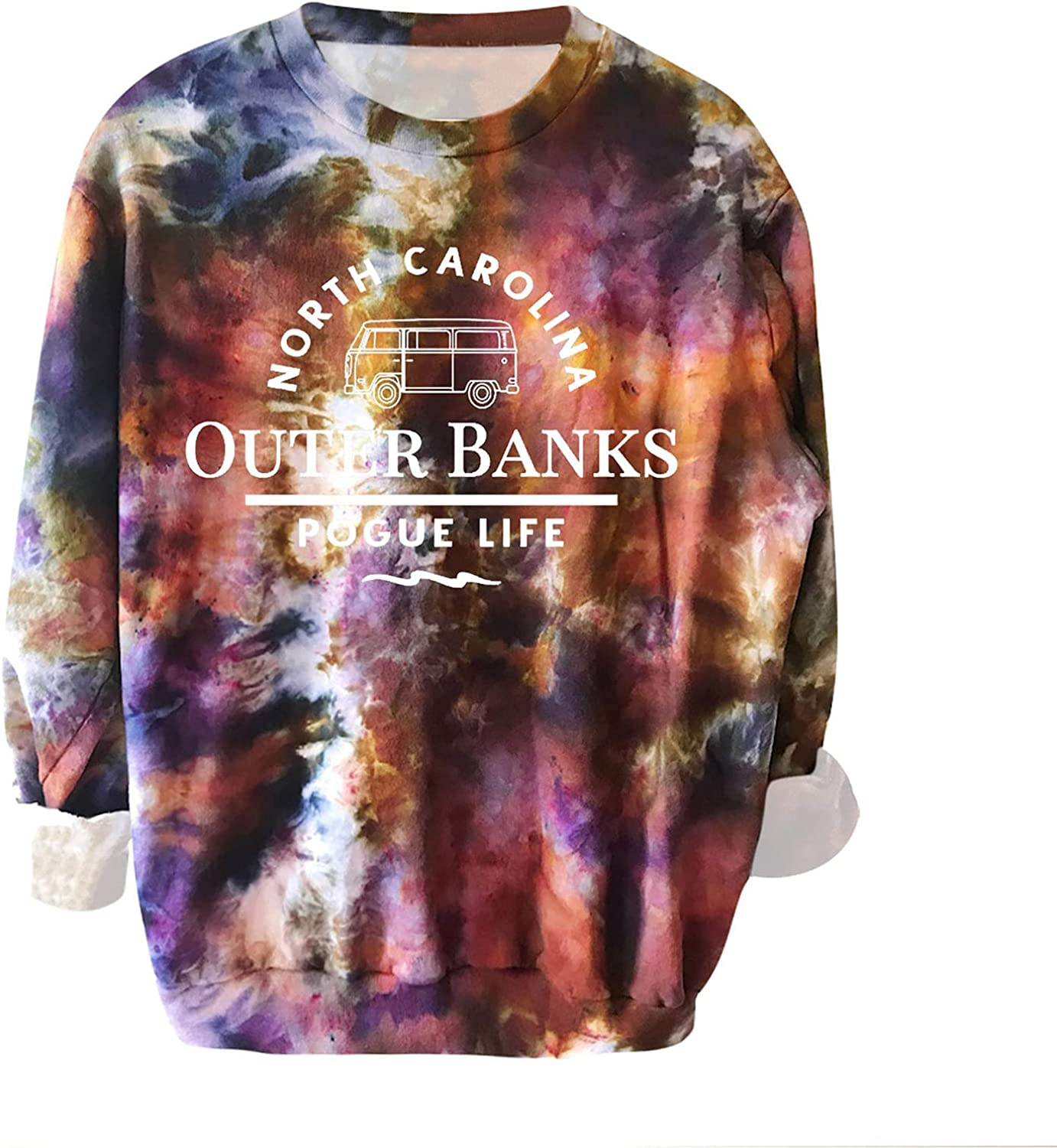 Women Fall Tie Dye Sweatshirt Casual Long Sleeve Crewneck Letter Print Pullover Loose Fit Workout Tops Athletic Shirt
