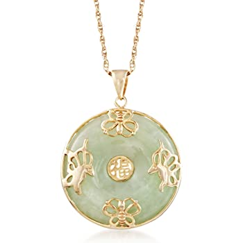 """Ross-Simons Jade """"Good Fortune"""" Butterfly Pendant Necklace in 18kt Gold Over Sterling"""