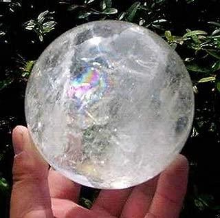 NATURAL RAINBOW CLEAR QUARTZ CRYSTAL SPHERE BALL HEALING GEMSTONE 80mm AAA