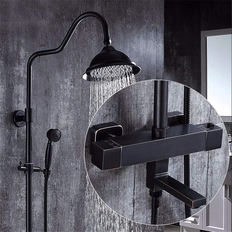 Cxmm Duscharmaturen, Schwarze Dusche, heie und kalte Duschdüse mit konstantem Druck, Kupferduschset für Badewandbehang nach europischem Vorbild, C