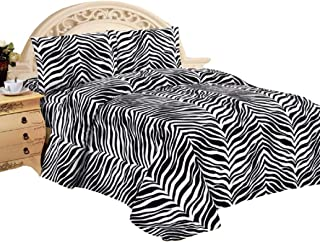 4 Piece Zebra Animal Print Super Soft Executive Collection 1500 Series Bed Sheet Set Queen Size (Black White Zebra)