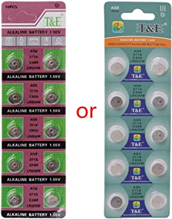 Sixsons 10 Pcs Button Cell Battery AG6 1.55V Lithium Battery Round Coin Cell Battery For Watch Clocks Controllers Toys 371 SR920SW LR920 SR927 171 370 L921 LR69 SR920 Household Alkaline Battery