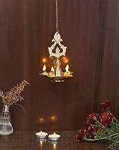 Collectible India Brass Diya Hanging Lamp Stand for Puja - Diya Lights for Decoration Hanging for Home Decor Mandir Pooja Deepak Puja Deepam Diwali Gift