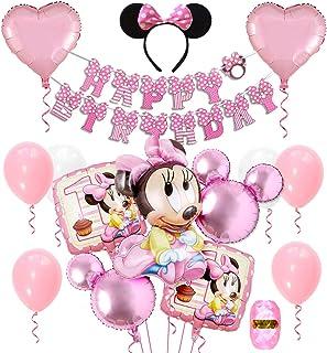 誕生日飾り付け 可愛いミニー ピンク ディズニー HAPPY BIRTHDAYバナー ヘアバンド ハートアルミ ラテックスバルーン 女の子 100日 半歳 1歳 12歳誕生日飾り イベント飾り 部屋装飾